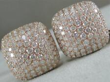 MODERN PAVE 3.38CTW DIAMOND 18KT ROSE GOLD SQUARE PUFF MENS CUFFLINKS #C00087R3