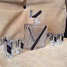 ART DECO KARL PALDA CZECH CRYSTAL GLASS CUT DECANTER SET 6 TUMBLERS 1930-s
