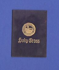 c1910s L21 tobacco / cigarette leather Holy Cross University seal #1 Nice!