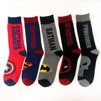 Mens Cotton Superman Socks MARVEL COMICS Super Hero Batman Casual Socks 9-12 Sox