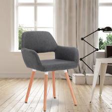 Esszimmerstuhl Küchenstuhl mit Arm- und Rückenlehne Leinen Dunkelgrau BH76dgr-1