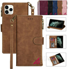 Leather Flip Case For iPhone 12 11 Pro XS Max XR 8 7 6 Zipper Wallet Stand Cover