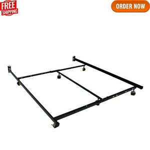 Low Profile Premium Lev-R-Lock Queen Adjustable All Sizes Bed Frame with 6-Legs