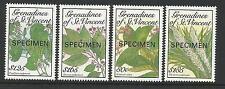ST VINCENT GRENADINES 1989 FLOWERS FROM BOTANICAL GARDENS OPT 4v MNH