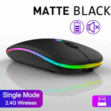 More details for slim silent rechargeable wireless mouse+usb mice rgb led macbook laptop pc uk