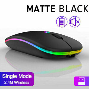 Slim Silent Rechargeable Wireless Mouse+USB Mice RGB LED MacBook Laptop PC UK