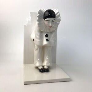 Sigma Taste Setter Black & White Pierrot Clown Mime Art Deco Ceramic Bookend
