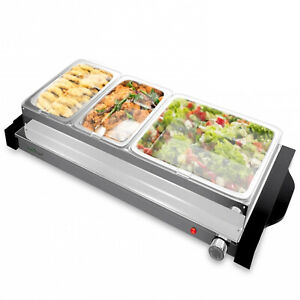 NutriChef Portable 3 Tray Electric Hot Plate Buffet Warmer Chafing Serving Dish