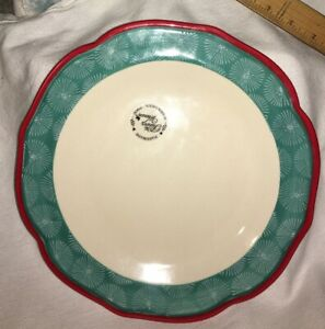 "NWT THE PIONEER WOMAN HAPPINESS RED RIM SCALLOPED DINNER PLATE 10.5"" Beige Green"