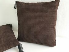 2 x george/asda 47cm chocolate brown fully zipped jumbo cord scatter cushions