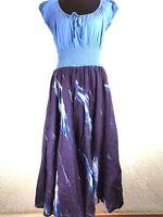 Caleaas Dress M A Line Blue Purple Full Skirt Midi Length Scoop Tie Neck Cotton