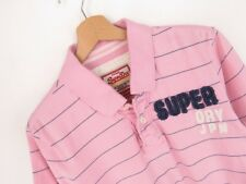 RP2175 SUPERDRY POLO SHIRT ORIGINAL PREMIUM VINTAGE FADED STRIPED PINK size M