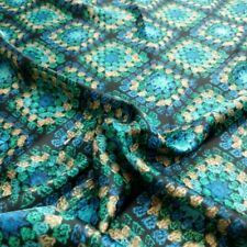 Vintage Granny Squares Print Fabric 4 Yards Silky Novelty Print Apparel Material