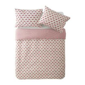 EMILY BOND 100% Combed Cotton Dachshund Pink Bed Linen Bedding Set Super King