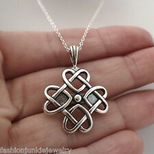 Celtic Knot Love Necklace - 925 Sterling Silver *NEW* Irish Celtic Heart Gift