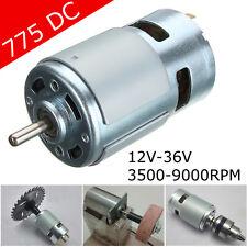 775 DC 12V-36V Large Torque Motor 3500-9000RPM Low Noise High Power Gear Bearing