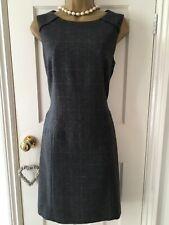 Hobbs Super Cute Tailored Grey Wool Pinafore Shift Mini Dress - Immaculate UK 10