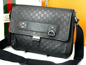 "GUCCI Italy Authentic 13"" Leather  Laptop Messenger Shoulder Bag"