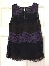 NWOT Banana Republic lace top black purple size XS