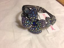 Betsey Johnson Flower Floral Posy Bracelet Blue & Purple Crystal Bling