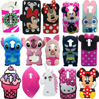 New 3D Animals Cartoon Soft Silicone Case Cover Back Skin For LG Various Phone
