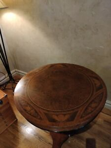 Maltland Smith Inlay Sitting Table With Gold Gilded Pedestal & Brass Feet
