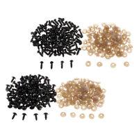 200 Set di occhi di sicurezza in plastica nera Occhi solidi con rondelle per