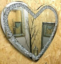 Heart Shape Crushed Diamond Crystal Glass Silver Bevelled Wall Mirror 70x70cm