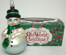 Old World Christmas Glass Ornament Happy Winking Snowman with Green Scarf