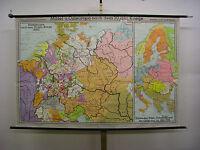 Schulwandkarte schöne alte Europakarte 1650 Deutschland 202x134 1972 vintage map