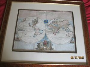 """Original Late 1600's World Map, Framed, 27"""" x 23"""", Excellent Condition"""
