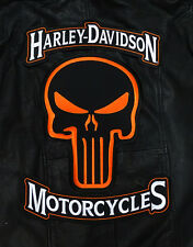 HARLEY 12 INCH TOP BOTTOM ROCKER WITH 12 INC PUNISHER SKULL 3PC BACK PATCH