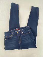 7For All ManKind Womens High Waist Skinny Ankle Jeans Sz 27 Blue Dark Wash Denim