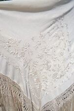 Antique c.1900 Silk Embroidered Canton de Manila Handmade Piano Shawl #wedding