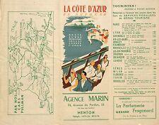 MENTON CARS AUTOCARS PULLMAN AGENCE MARIN BROCHURE 1951 ?