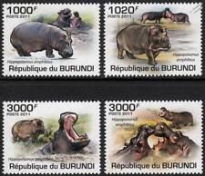 HIPPOPOTAMUS African Common Hippo / Wild Animals Stamp Set (2011 Burundi)
