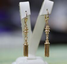 Victorian 14k gold earrings with tassels, signed.