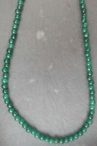 """Necklace Emerald Round Cabochon 4-5mm Bead Wire Strung 19-20"""""""