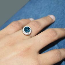 925 STERLING 14K WHITE GOLD FINISH WOMEN'S HALO BLUE TOPAZ FANCY RING Womens Day