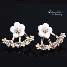 18K Yellow Gold GP Resin Clear Crystal Flowers Double Sided Ear Jackets Earrings