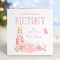 Personalised Mothers Day Card Very Special Mummy Cute Rabbit Daughter Mum Card