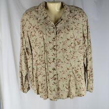 Elisabeth Size 18 P Blouse Shirt Sage Green Floral Long Sleeve Plus Size
