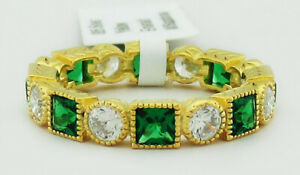 EMERALDS & WHITE SAPPHIRES ETERNITY RING .925 Silver (YELLOW) NWT SIZE 6