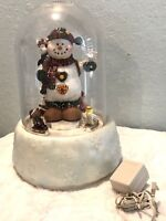 """z GIANT SNOW GLOBE Electric 15"""" Dome Animated Fiber Optic Snowman w Adapter"""