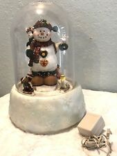 """GIANT SNOW GLOBE Electric 15"""" Dome Animated Fiber Optic Snowman w Adapter"""