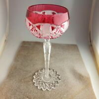 Vintage VAL ST LAMBERT Cranberry Cut to Clear Crystal Wine Glass Saarbrucken