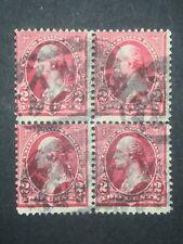 RIV: US USED 279B Block of Four 1898 2 cent Washington Albany, NY cancel 2J