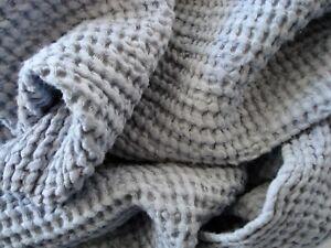 "Waffle ORGANIC Linen/Cotton Blanket, Throw, Coverlet, Bedspread ~ Gray 102""x98"""