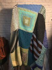 Knit Throw Blanket, Patchwork Crochet Throw, Grandma Style Knit