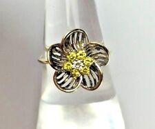 Fancy Yellow Canary White Diamond 14K Blackened White Yellow Gold Ring Vintage